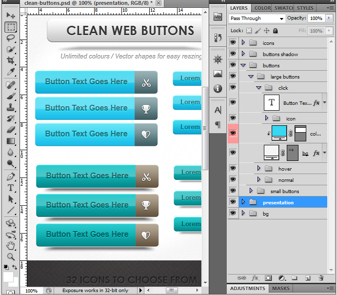 clean web buttons
