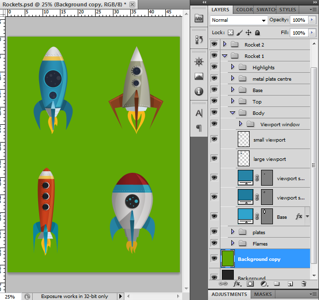four rockets graphic template